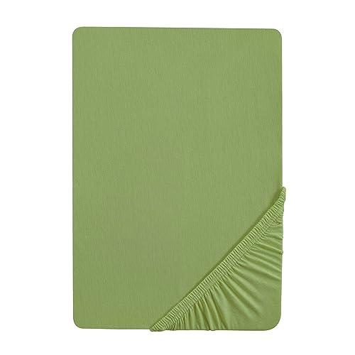Biberna 77866/429/322 Drap Housse en Jersey Stretch pour un Lit Vert Epicéa 180 x 200 cm à 200 x 220 cm