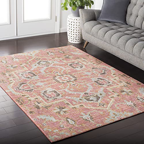 Germaine Pale Pink and Pale Blue Updated Traditional Area Rug 2 x 3