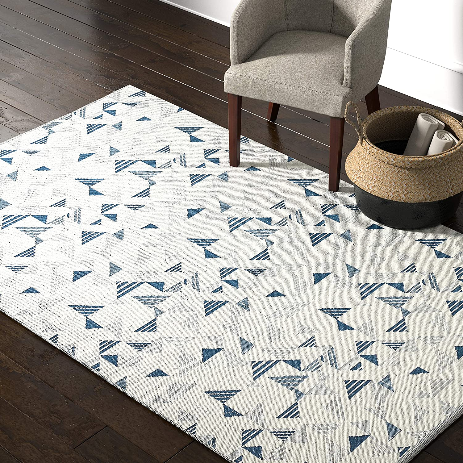 Amazon Brand Rivet Modern Geometric Triangle Wool Area Rug 5 X 8 Foot Blue Ivory Furniture Decor