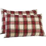 Pinzon 160 Gram Plaid Velvet Flannel Pillowcases - King, Cream/Red Plaid