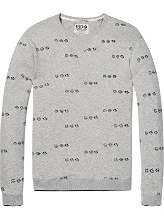 28f93cb2baaf Scotch   Soda Herren Sweatshirt AMS Blauw Felix The cat Allover Printed  Sweat in Regular fit