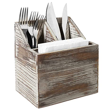 Rustic Torched Wood Tabletop Flatware Utensil Caddy Cutlery Organizer And Napkin Holder 3 Compartment