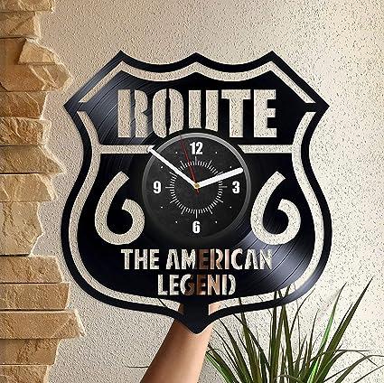 Amazon Com Vinyl Record Wall Clock Route 66 Home Decor Wall