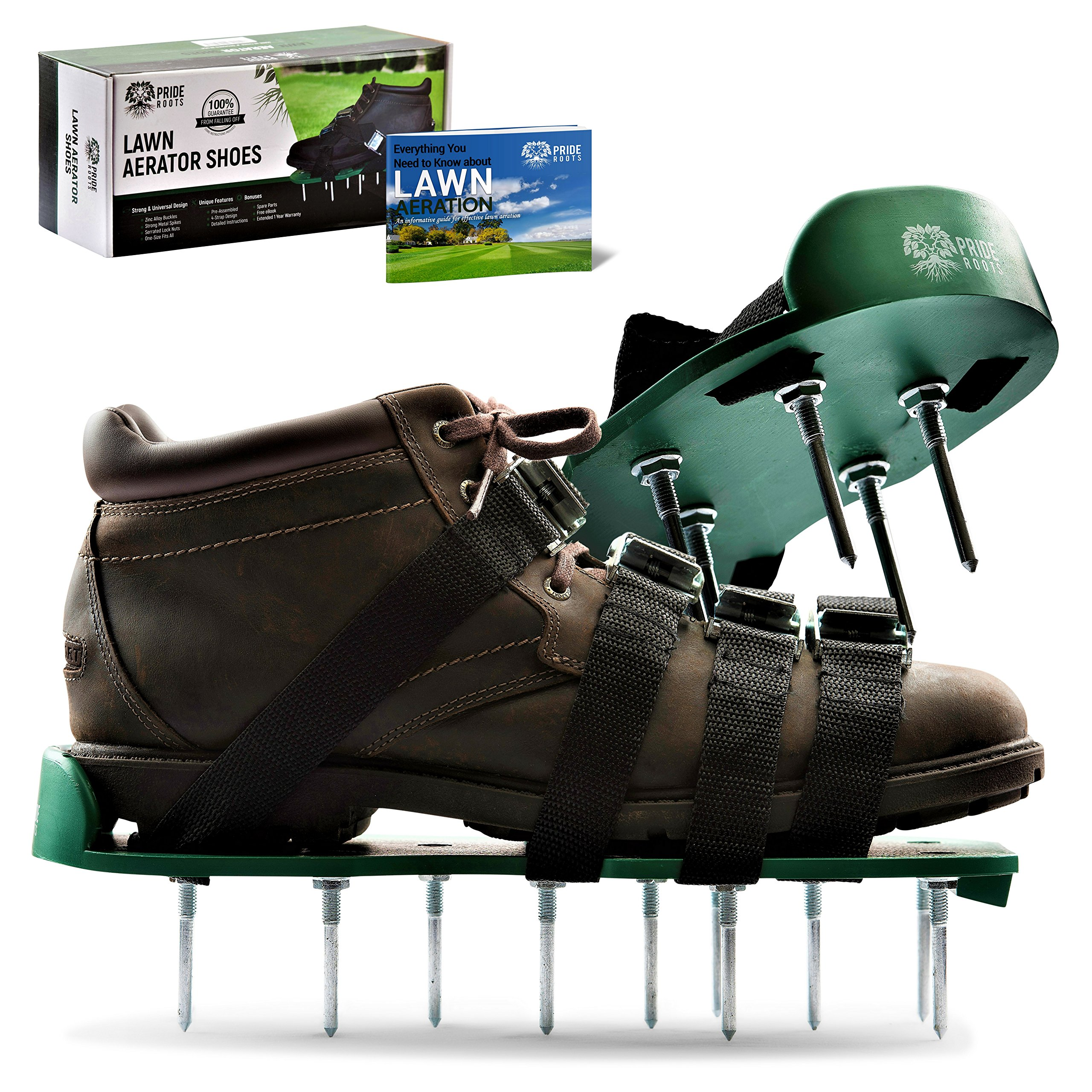 Pride Roots Pre-Assembled Lawn Aerator Shoes - Effective Tool for Aerating Yard Soil | Premier 2.2'' Spike Sandals w/ 4 Metal Buckle Straps | Includes Lawn Aeration eBook | 1 Size Fits All