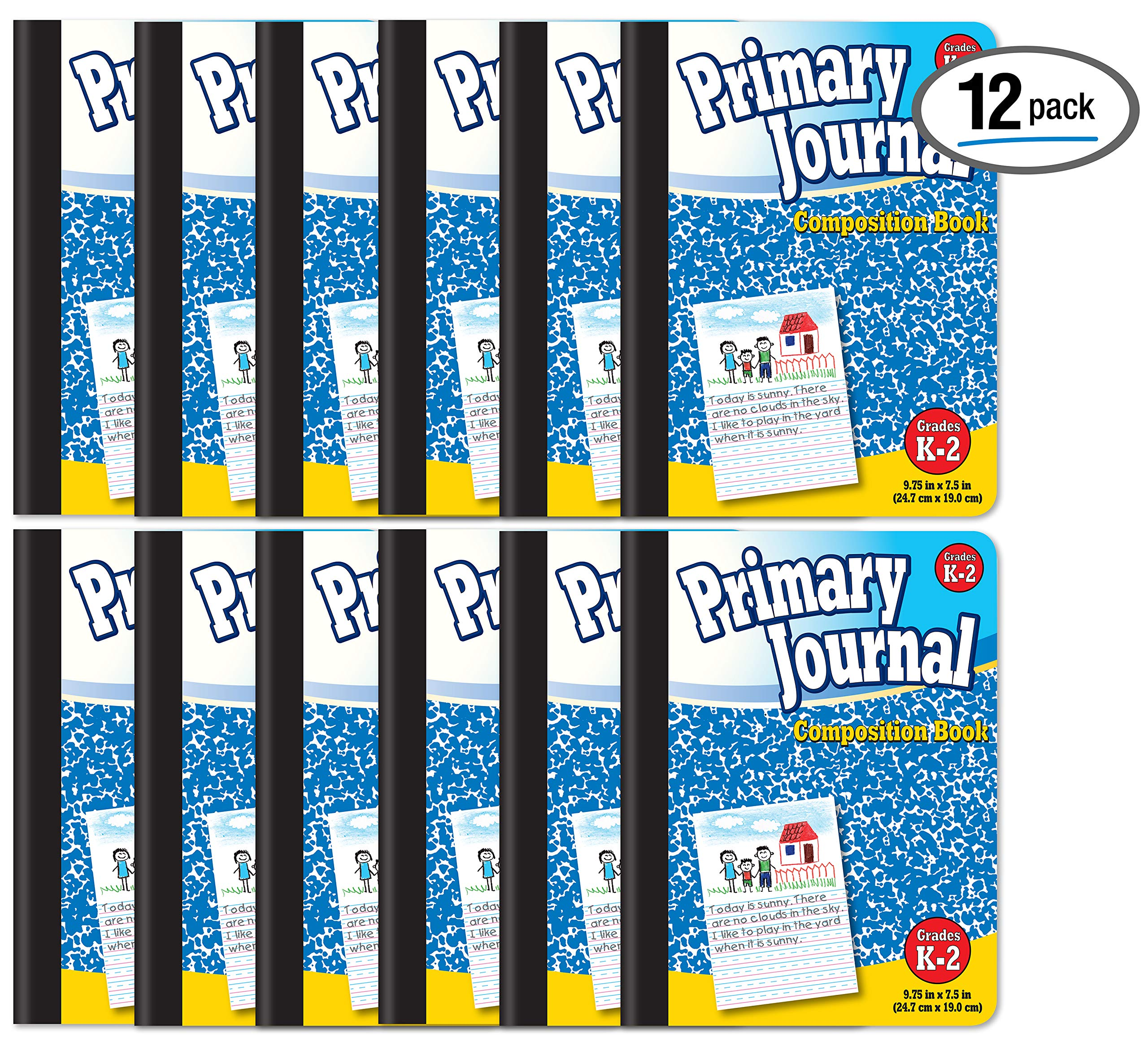 Primary Journal, Hardcover, Primary Composition Book Notebook - Grades K-2, 100 Sheet, One Subject, 9.75'' x 7.5'', Blue Cover-12 Pack by Better Office Products