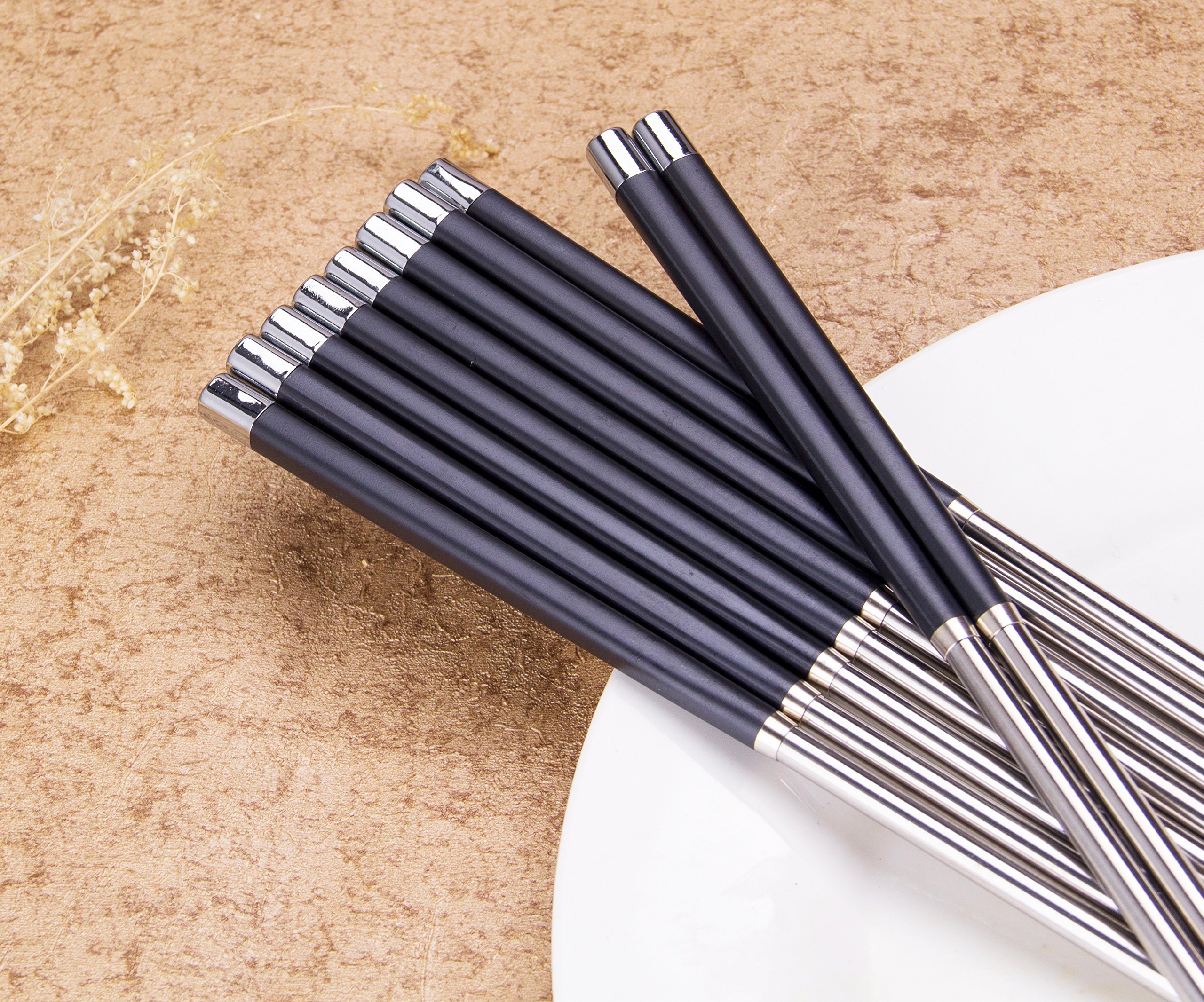 Foster (Goldage) 5-Pairs Stainless Steel & Fiberglass Dishwasher-safe Chopsticks