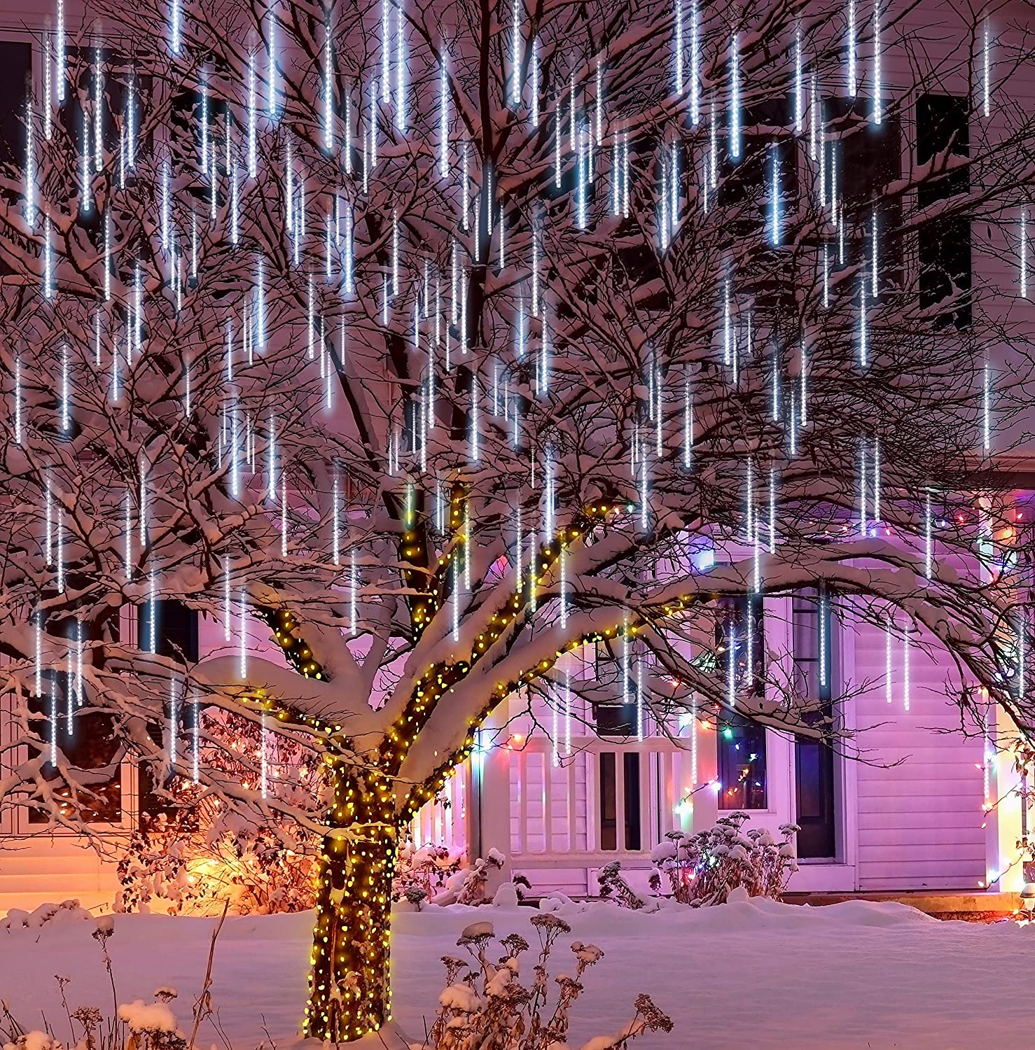 Joiedomi 3Packs Christmas Meteor Shower Lights Falling Rain Drop Icicle String Lights 288 LEDs 8 Tube 30cm for Halloween Christmas Holiday Party Home Patio Outdoor Decoration, White