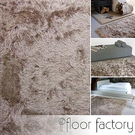 floor factory Tapis Shaggy longues mèches Prestige marron clair 200x290 cm  - tapis doux à poils extra longs