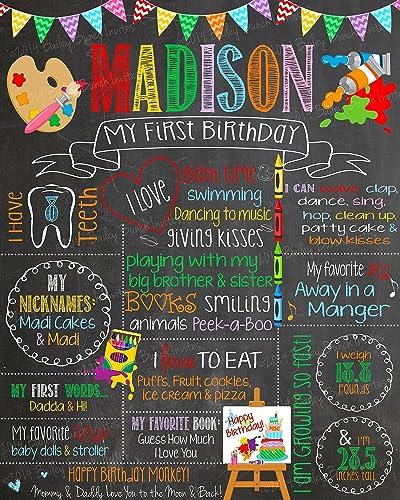Seller Away Digital File Girls First Birthday Blackboard Poster