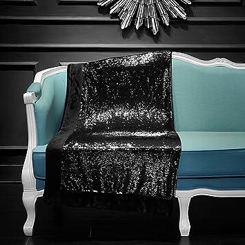 Amazon Black Reversible Mermaid Sequin Throw Home Kitchen Cool Silver Sequin Throw Blanket