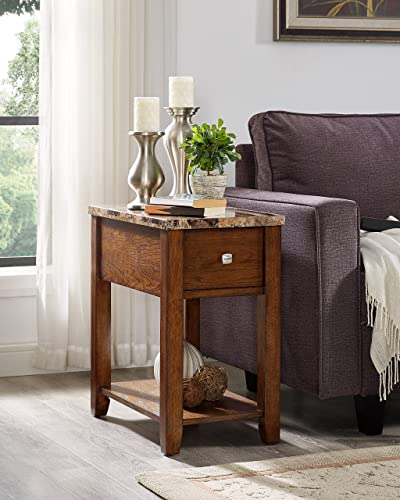 Roundhill Furniture Chair End Table, Oak Finish