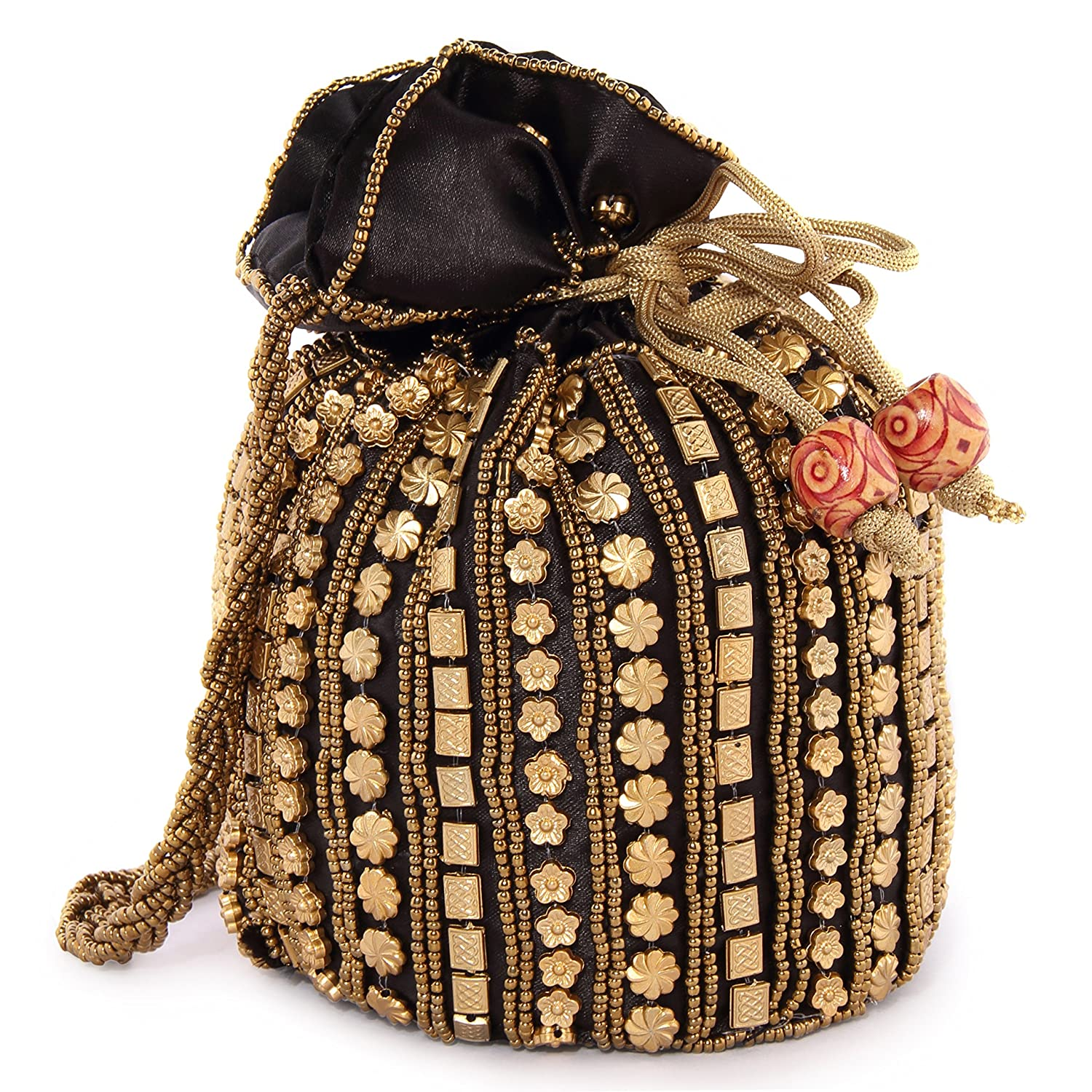 742f13c139d1 Funkia Women s traditional designer beads embroidery party wear potli -  Black  Amazon.in  Shoes   Handbags