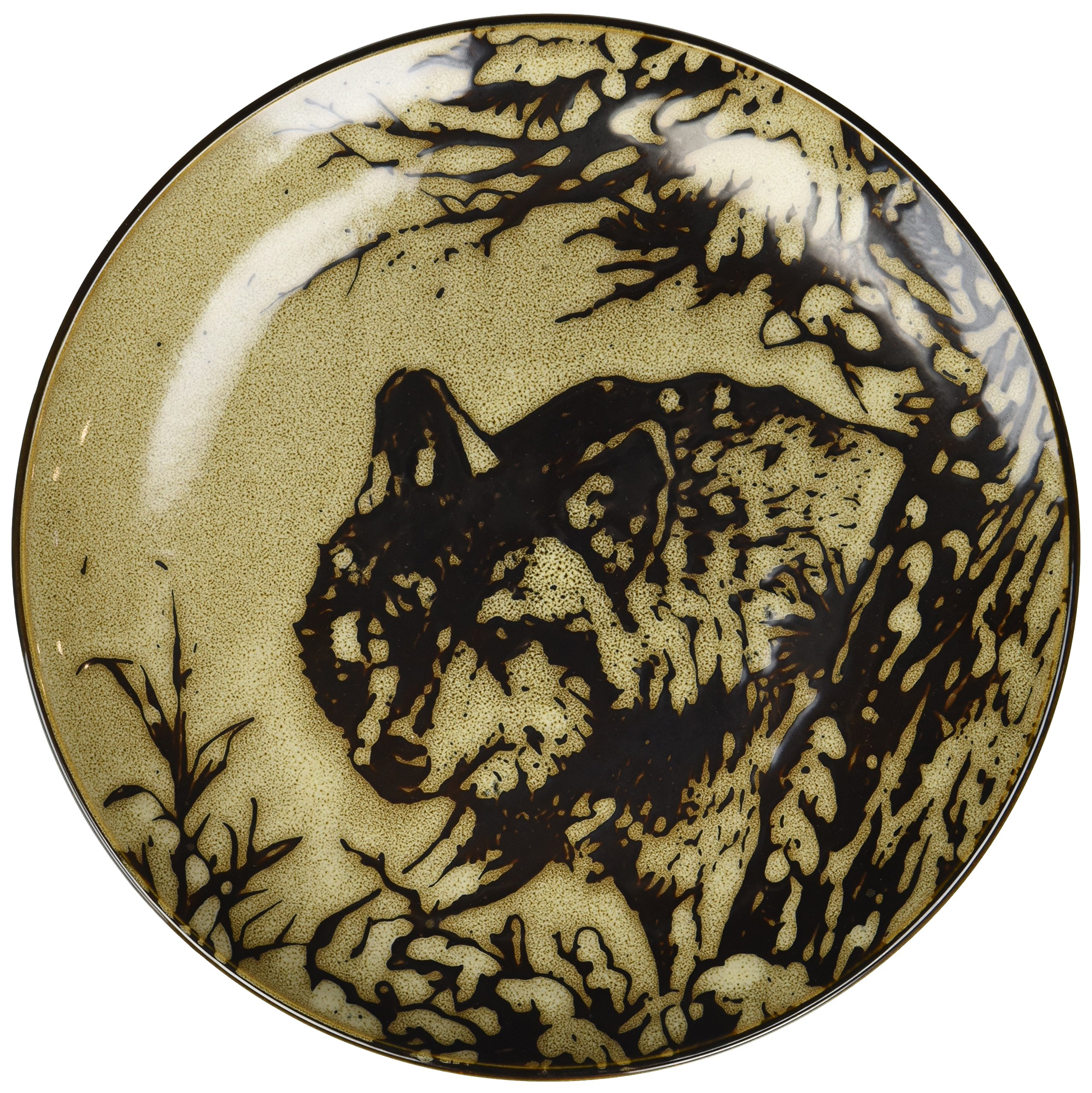 StealStreet SS-UG-TFC-717 Glazed North American Woodlands Design Plate Wolf, 8.25''