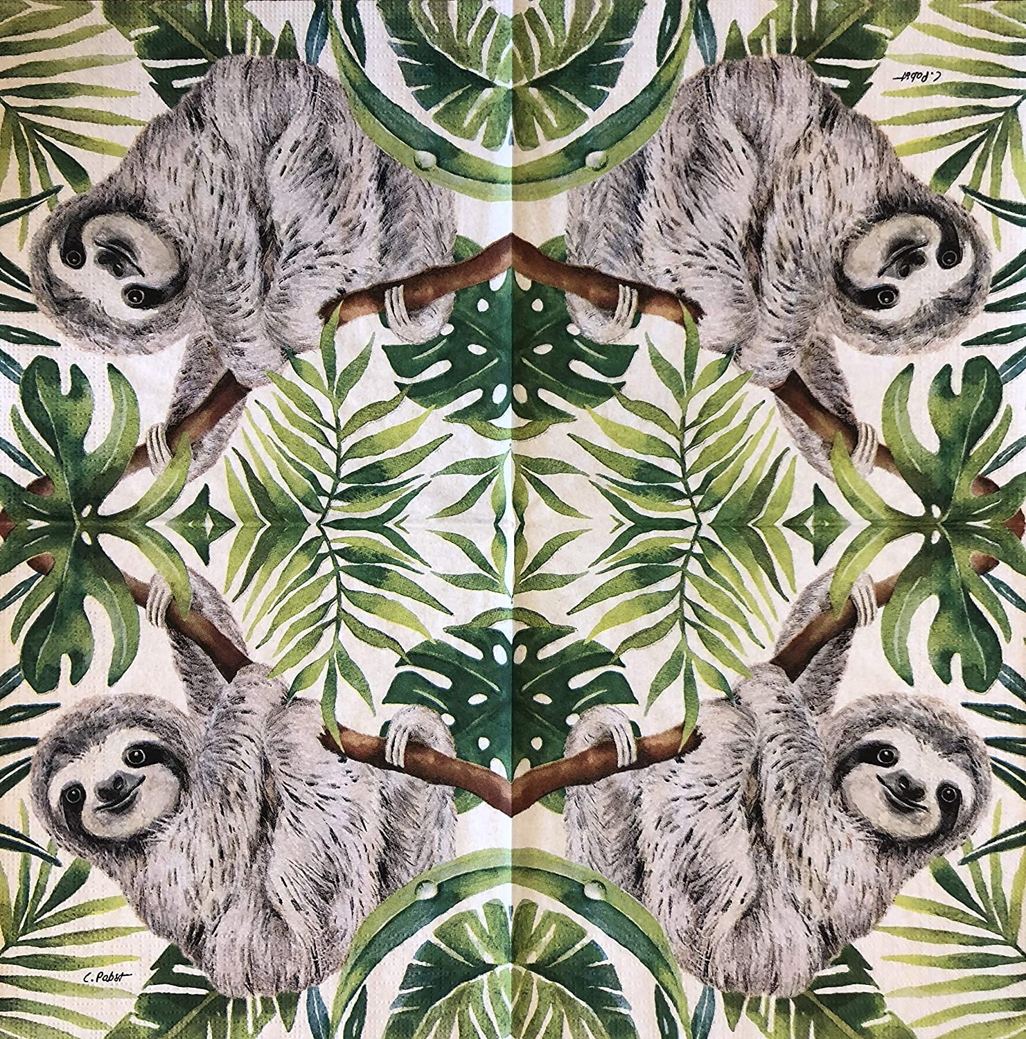 2 single Paper Napkins for DECOUPAGE Crafts Collection Party Sloth Lemur Asia Animals Wild Nature