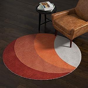 Rivet Modern Color-Block Area Rug, 5 x 8 Foot, Round, Multicolor