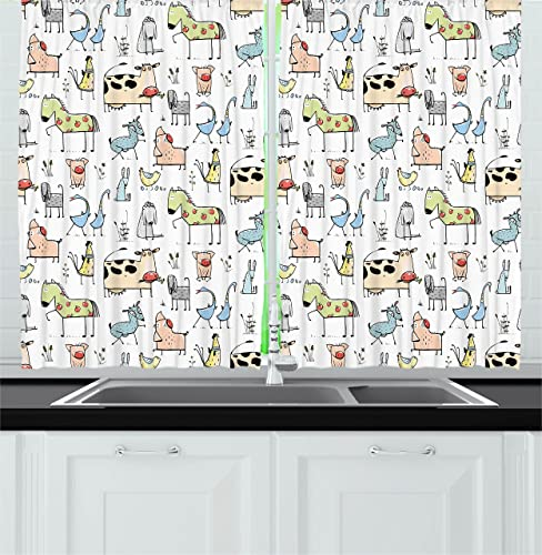 Ambesonne Animal Kitchen Curtains, Cow Horse Pigs Chicken Sheep Farmhouse Mascots Kids Nursery Baby Cartoon Print, Window Drapes 2 Panel Set for Kitchen Cafe Decor, 55 X 39 , Multicolor