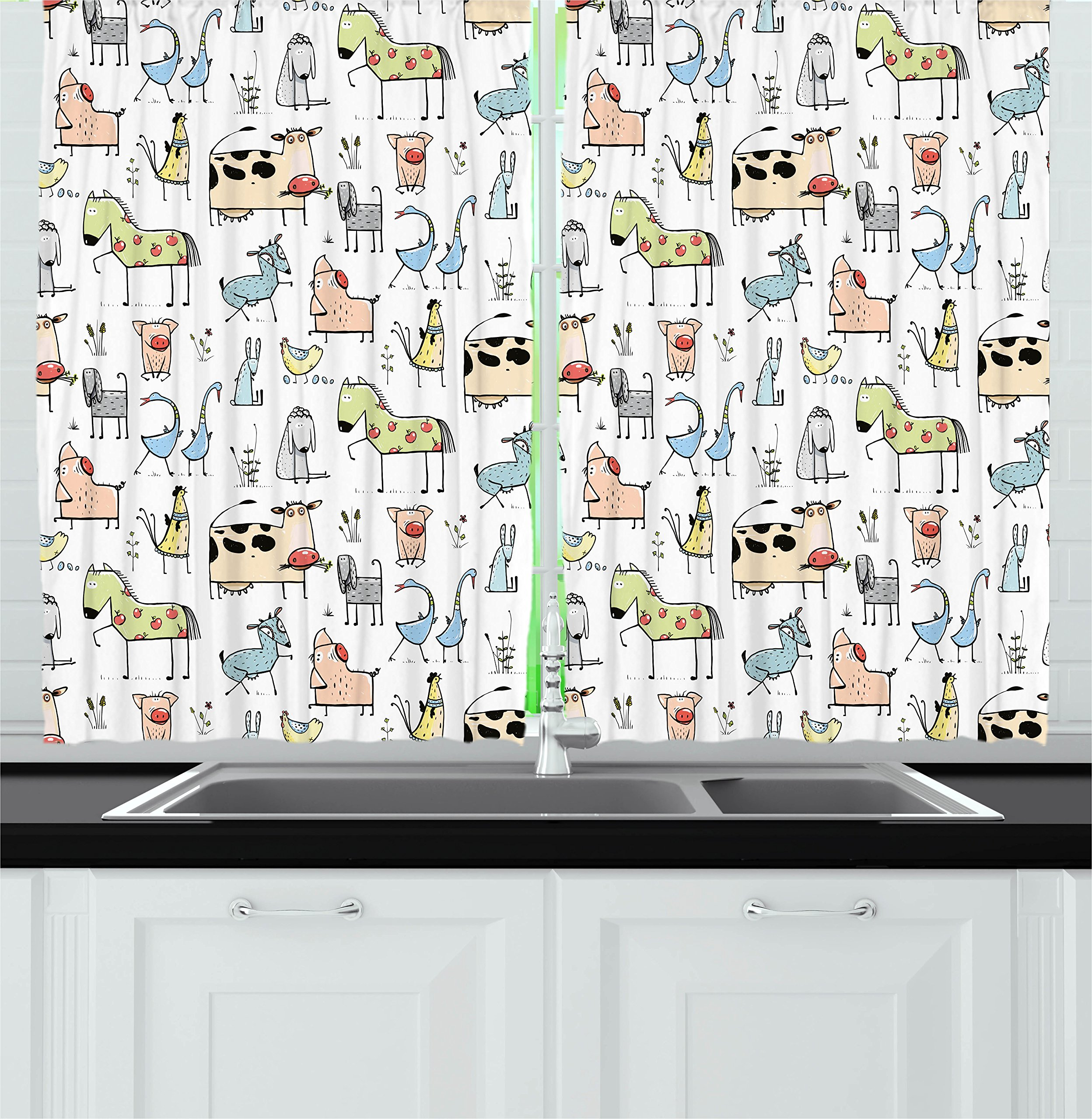Ambesonne Animal Decor Kitchen Curtains, Cute Cow Horse Pigs Chicken Sheep Farmhouse Mascots Kids Nursery Baby Cartoon Print, Window Drapes 2 Panels Set for Kitchen Cafe, 55W X 39L inches, Multi