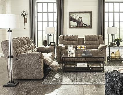 Amazon Com Workhorse Contemporary Cocoa Color Fabric Reclining Sofa