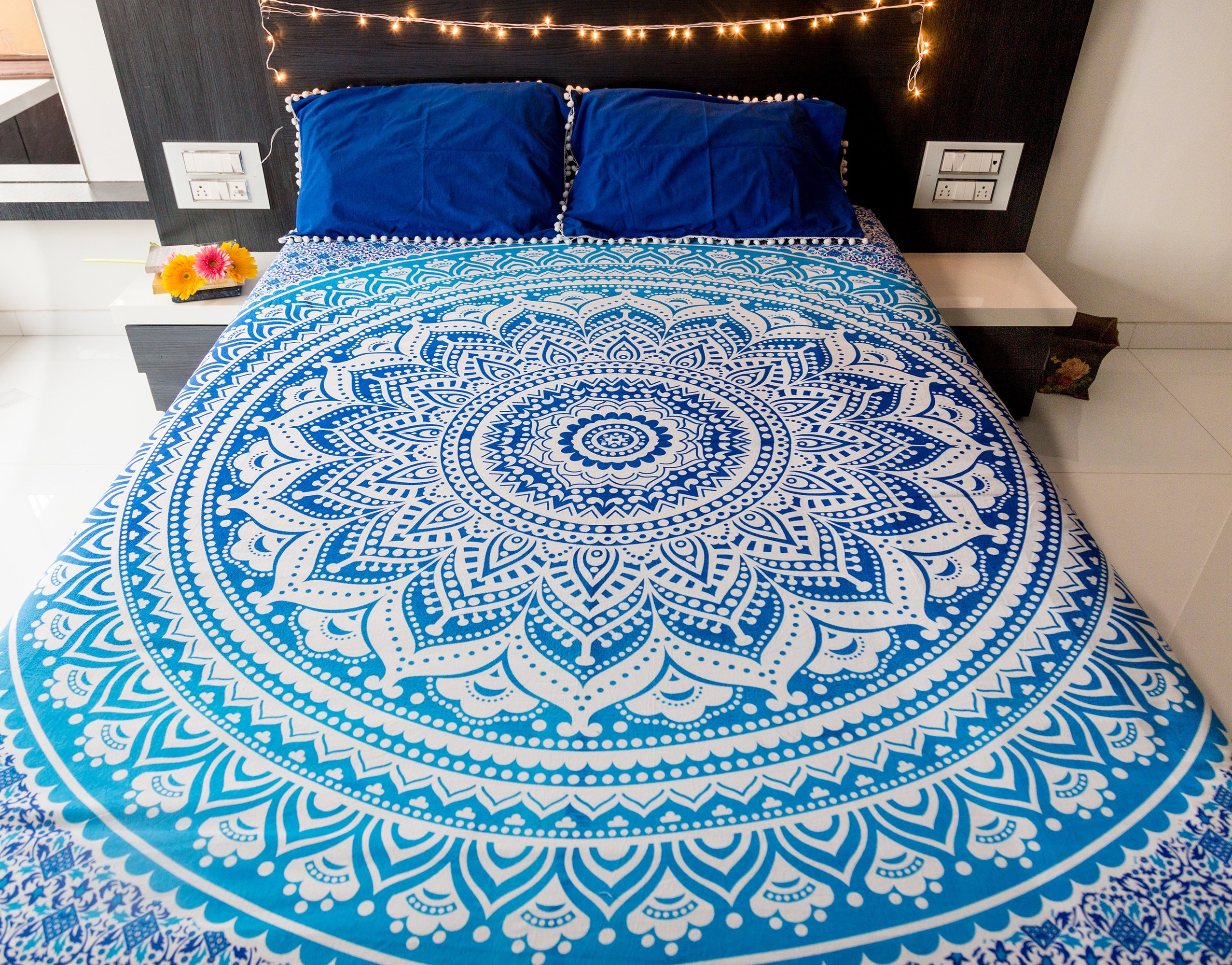 Mandala Tapestry Bedding with Pillow Covers, Indian Bohemian Hippie Tapestry Wall Hanging, Hippy Blanket or Beach Throw, Ombre Mandala Bedspread for Bedroom, Queen Size Majestic Blue Boho Decor