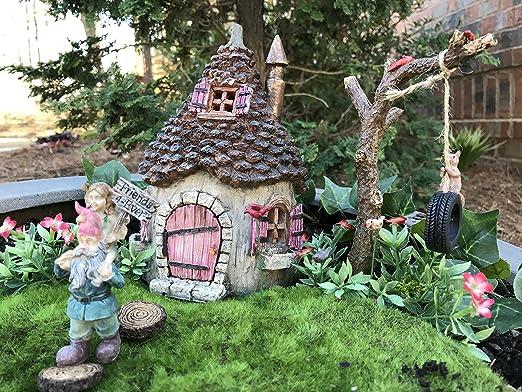 Miniatura Jardín de hadas Starter Kit ardillas Hideaway Cottage y ...