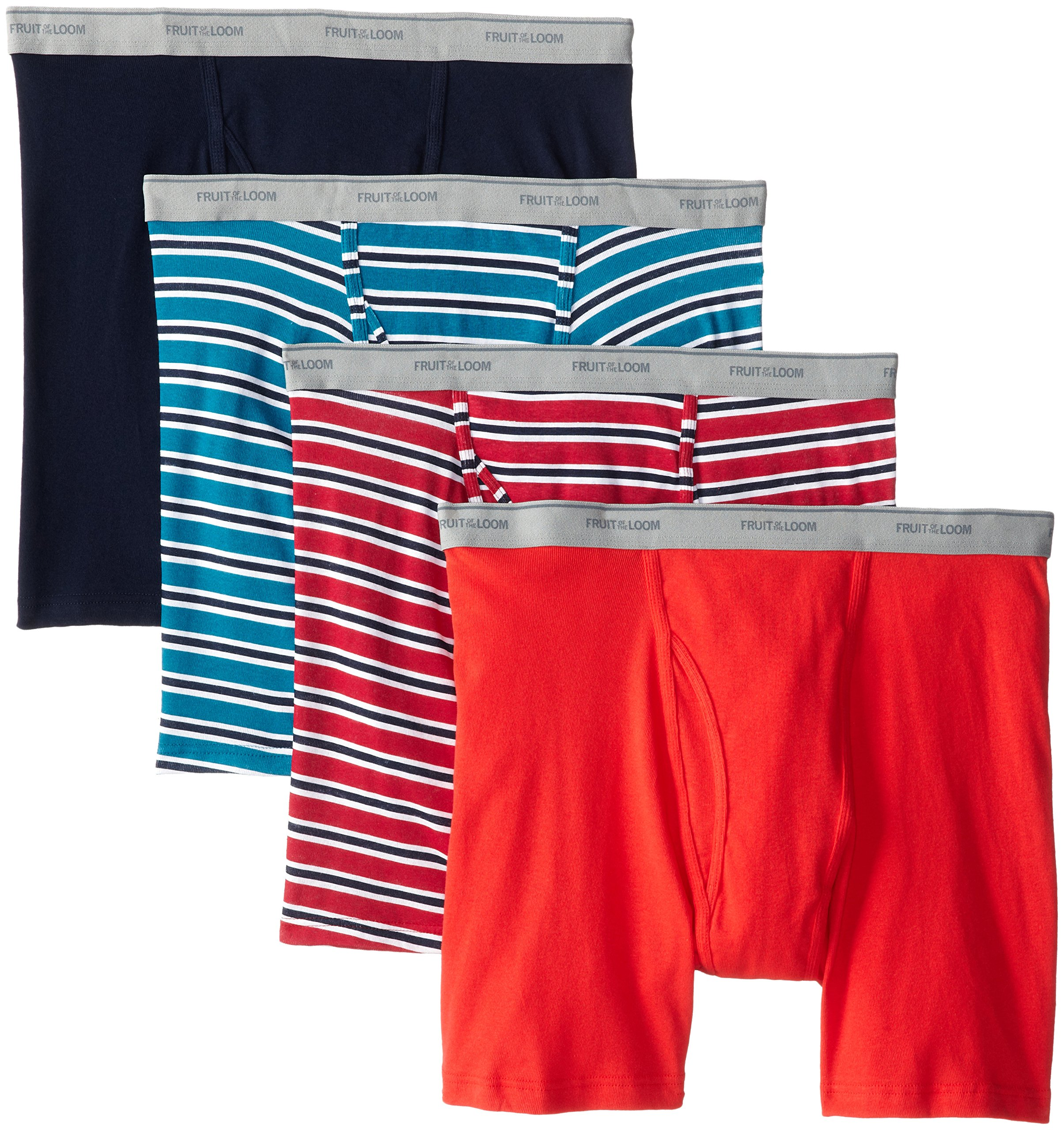 Fruit of the Loom Men's Stripe Solid X-Size Boxer Brief, Assorted, 3X-Large(Pack of 4)
