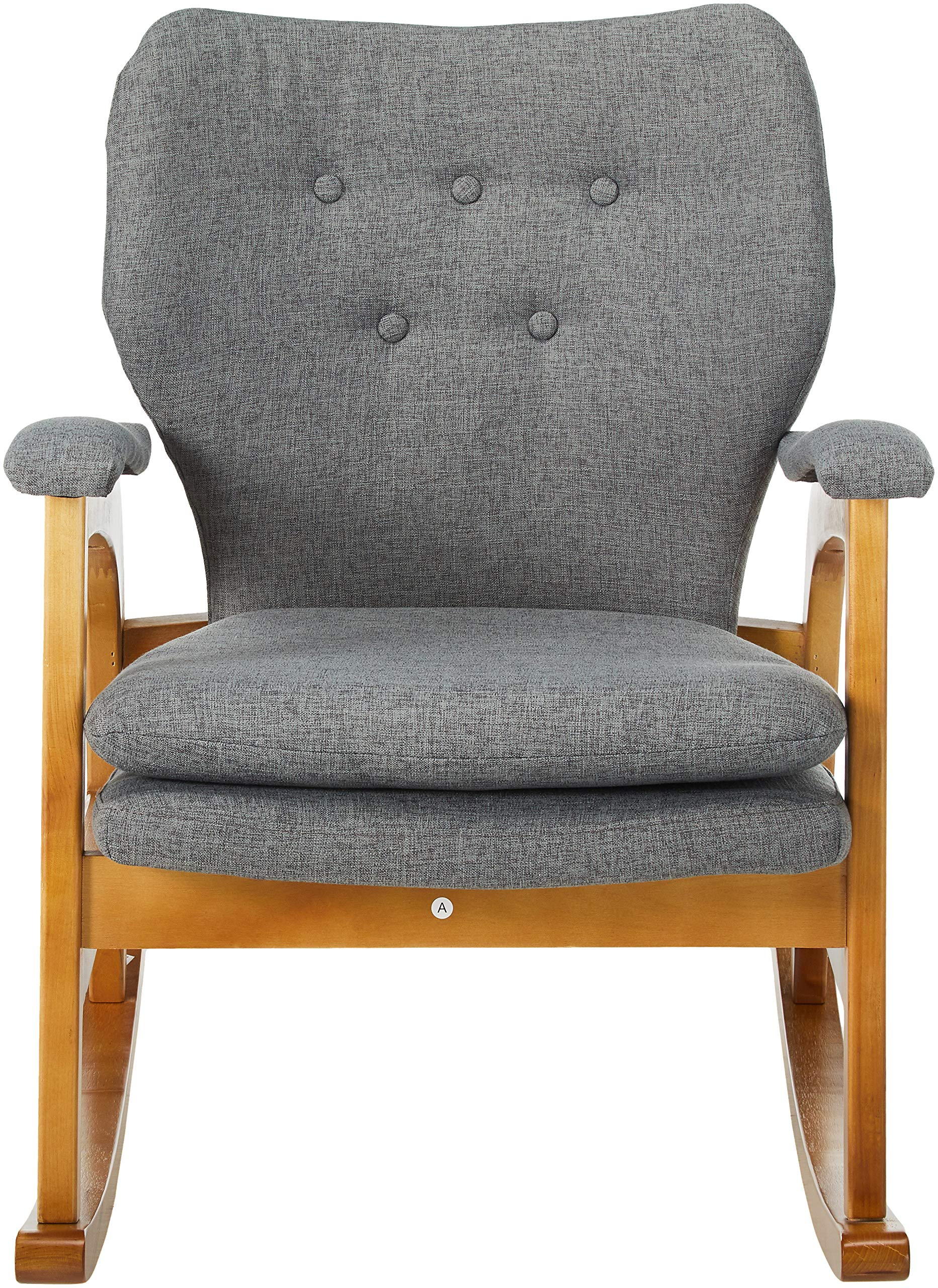 Christopher Knight Home Braant Mid-Century Fabric Rocker, Grey / Light Walnut