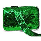 Mandala Crafts Elastic Sequin, Flat Glitter Stretch Bling Paillette Fabric Ribbon, Metallic Appliqué Trim Lace for Dress Embellish, Headband (1.5 Inches, Green)