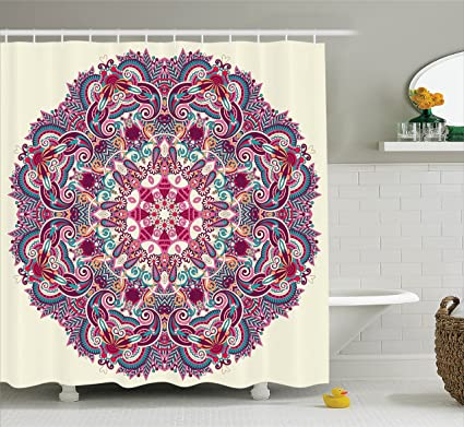 Ambesonne Mandala Shower Curtain Decor By Detailed Pattern With Flower And Leaves Bohemian Theme