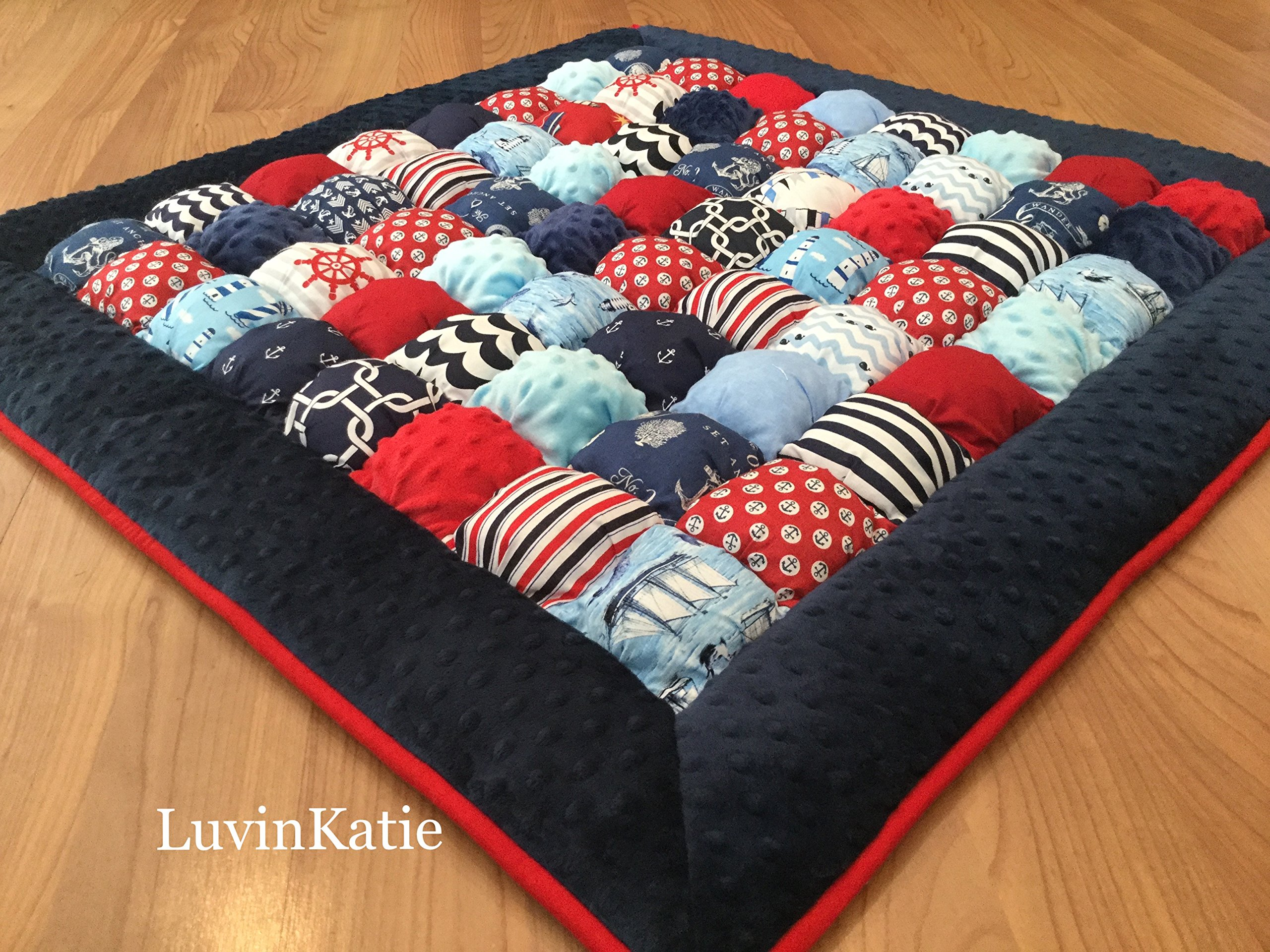 Nautical Bubble Puff Quilt Biscuit Quilt for Floor Time Tummy Time