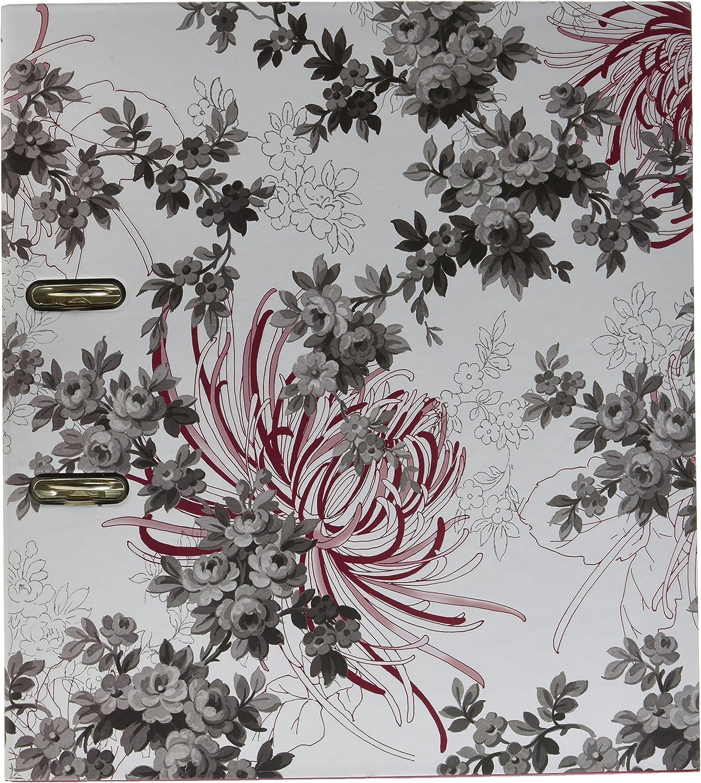 Clairefontaine Imperial 115223/C raccoglitore a leva di formato A4//di schiena 7/cm fondo bianco//con motivo floreale giapponese Tokyo Rosso//Nero