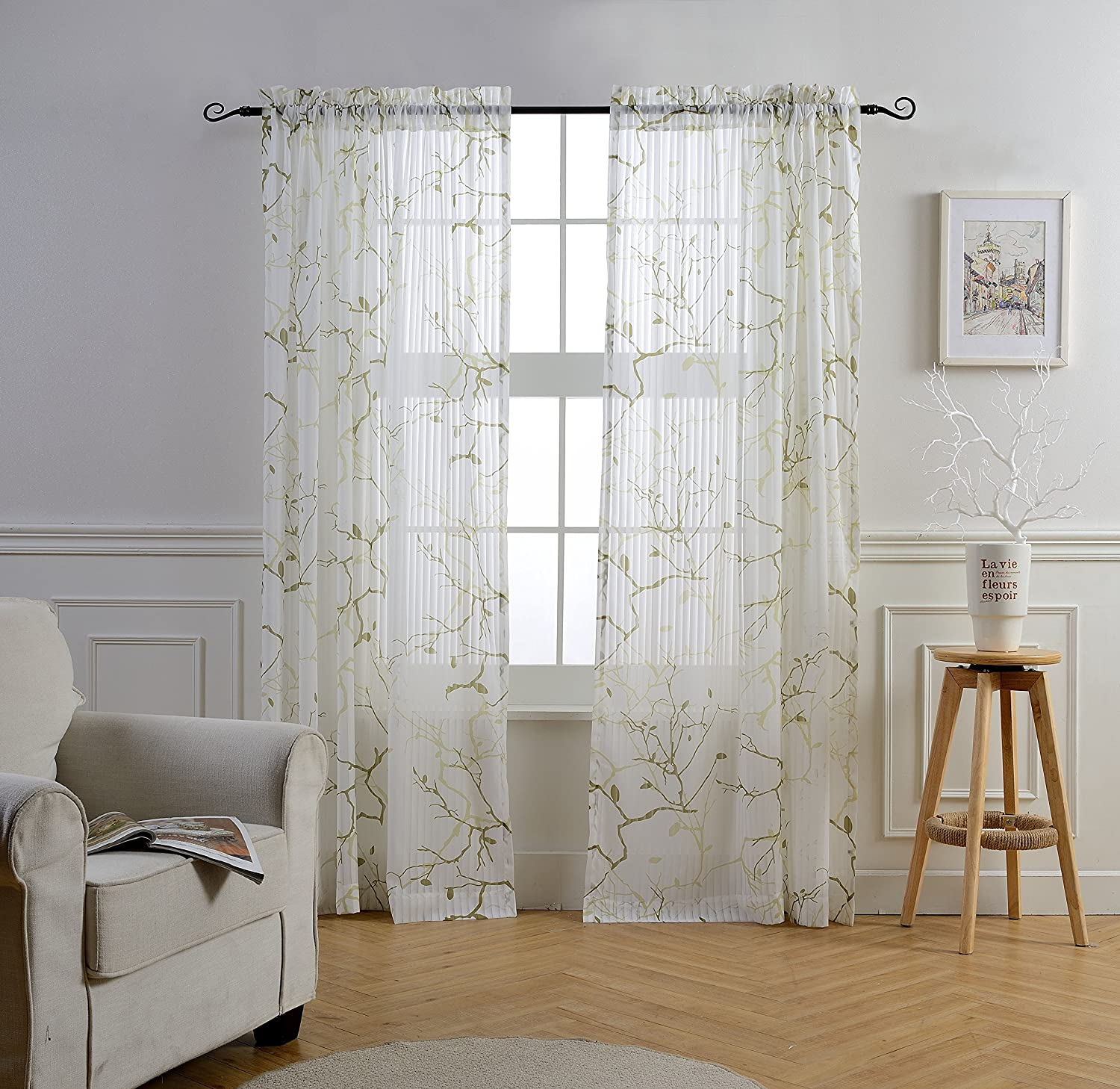 Striped white sheer panel curtains