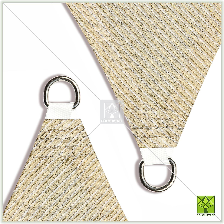 ColourTree 24 x 24 x 24 Beige Sun Shade Sail Triangle Canopy We Make Custom Size UV Resistant Heavy Duty Commercial Grade