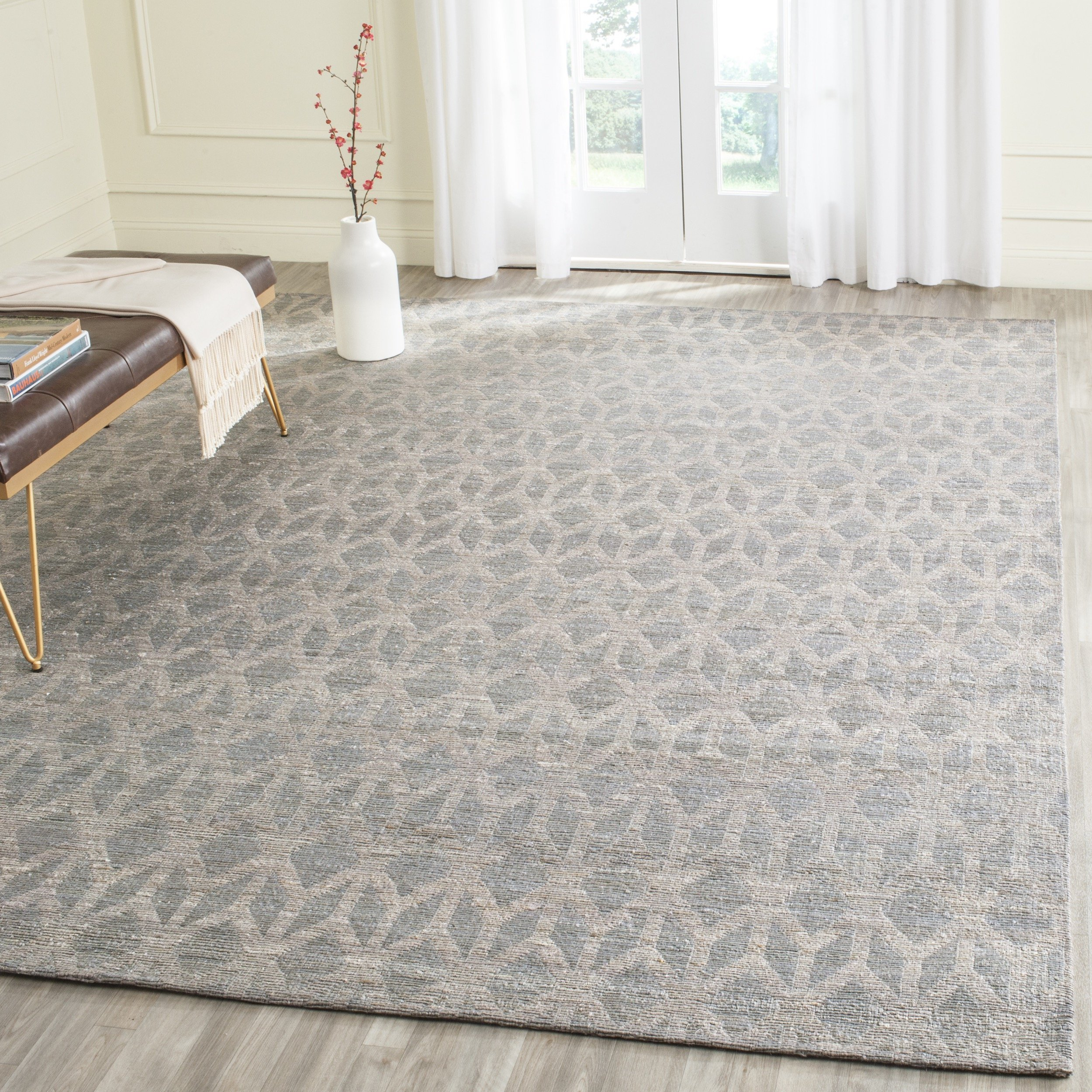 Safavieh Cape Cod Collection CAP415A Hand Woven Geometric Grey and Gold Jute and Cotton Area Rug (6' x 9') by Safavieh