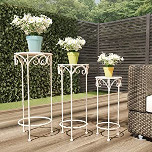 Pure Garden 50-LG1158 Stands – Set of 3 Indoor or Outdoor Nesting Wrought Iron Round Decorative Potted Plant Accent Display Accessories (Antique White)