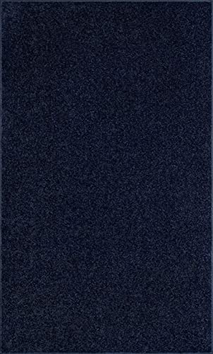 Ambiant Pet Friendly Solid Color Area Rug Navy -6 x9