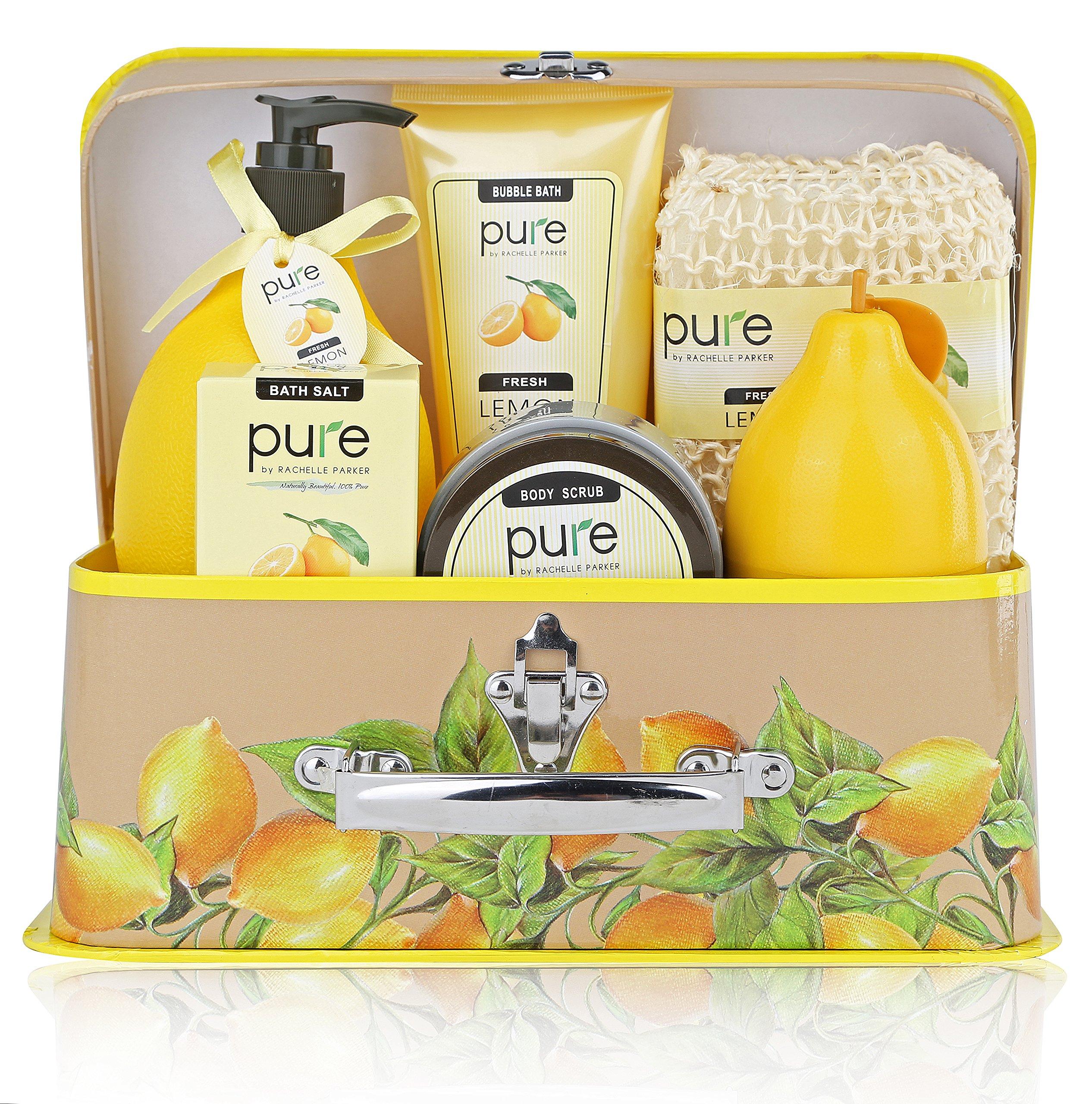 Deluxe Spa Basket. Premium Lemon Bath & Body Set by Pure