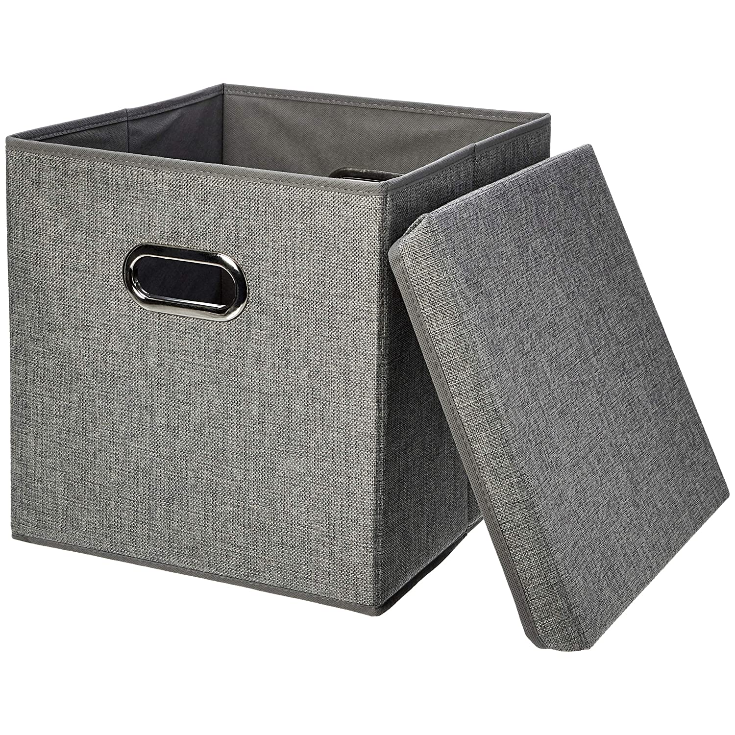 AmazonBasics Foldable Burlap Cloth Cube Storage Bin with Lid
