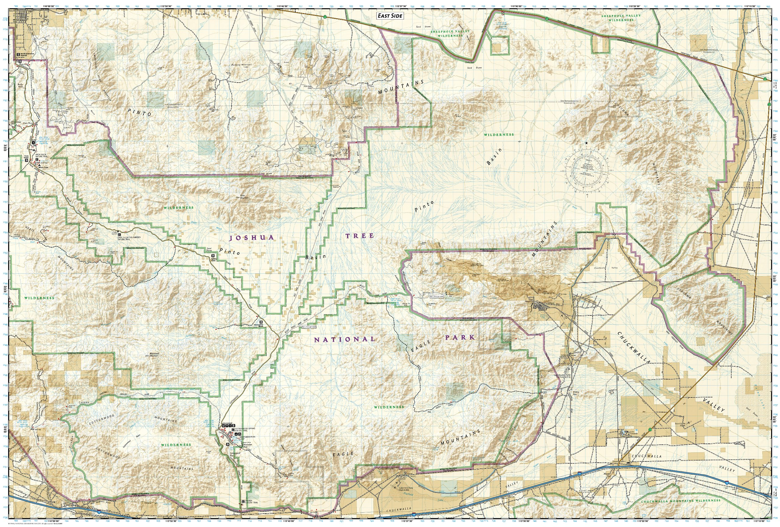 Joshua Tree Topographic Map.Joshua Tree National Park National Geographic Trails Illustrated