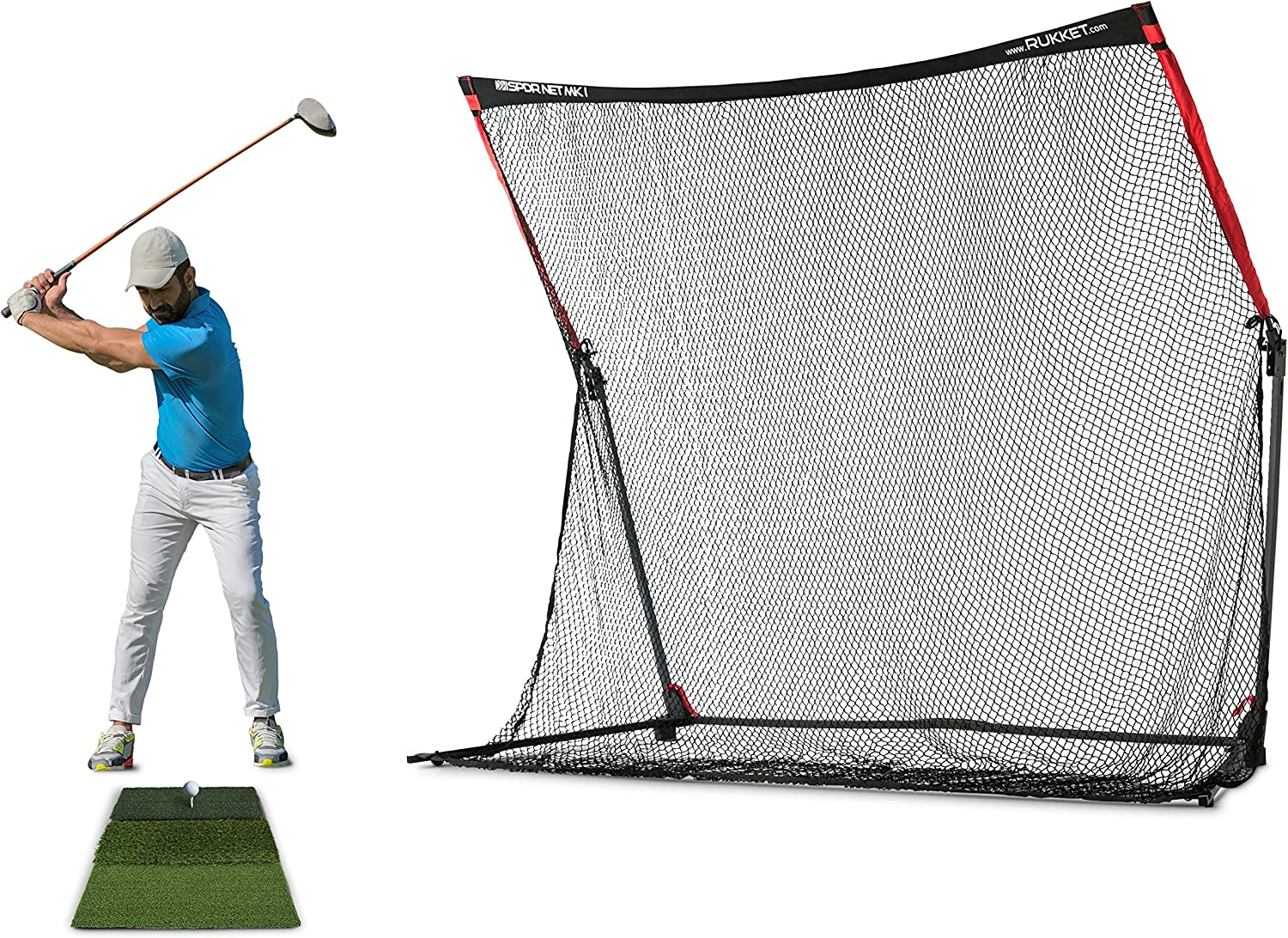 Rukket 4pc Golf Practice Bundle 10x7ft SPDR Driving Net Tri-Turf Hitting Mat Barrier Protective Wings Carry Bag Portable Indoor and Outdoor at Home Residential