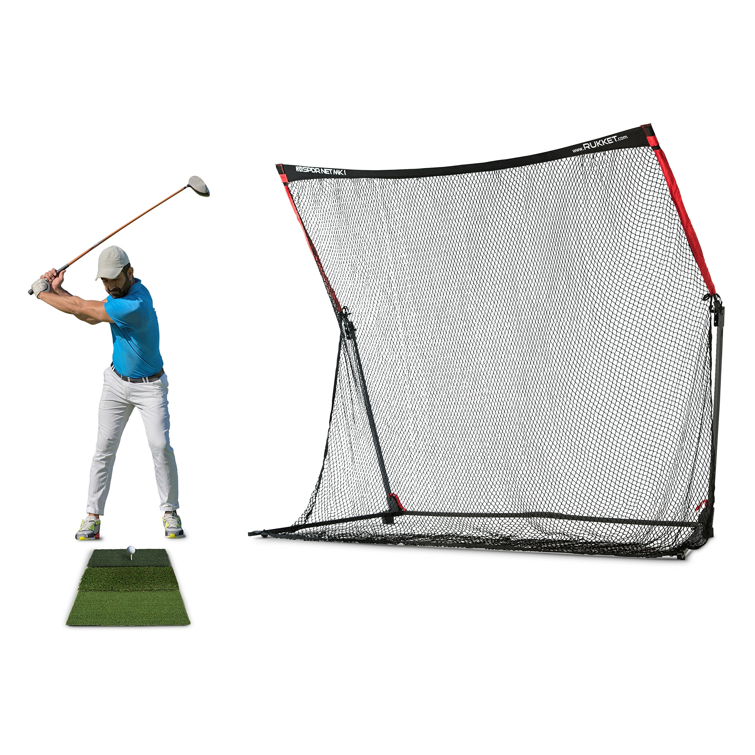 Rukket 4pc Golf Bundle | 10x7ft SPDR Driving Net | Tri-Turf Hitting Mat | Barrier Protective Wings | Carry Bag | Practice Indoor and Outdoor