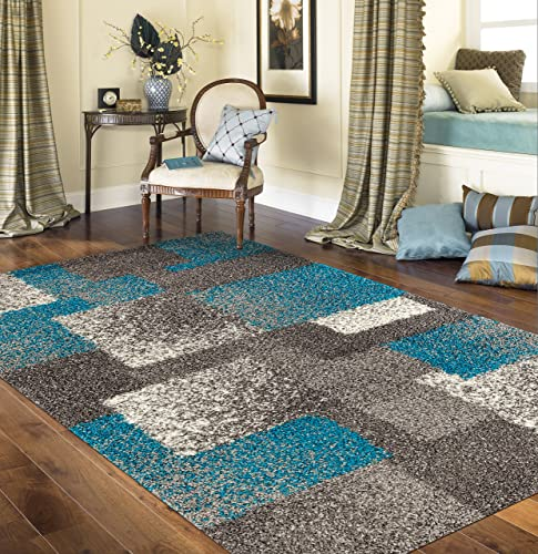 Cozy Contemporary Geometric Boxes Shag Area Rug 3 3 X 5 Gray Blue