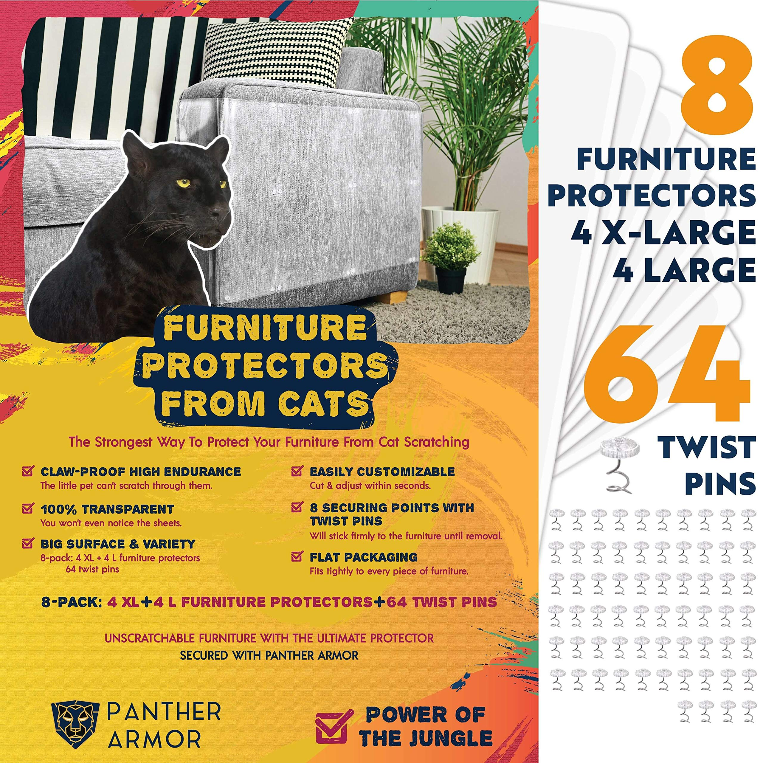 Panther Armor Furniture Protectors from Cat Scratch - 8(Eight)-Pack - Couch Guards for Cats - 4-Pack XL 17''L 12''W + 4-Pack Large 17''L 10''W Cat Scratch Deterrent - Couch Corner Cat Scratch Repellent by Panther Armor