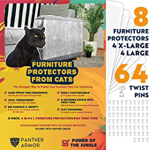 "Panther Armor Furniture Protectors from Cat Scratch - 8(Eight)-Pack – Couch Guards for Cats - 4-Pack XL 17""L 12""W + 4-Pack Large 17""L 10""W Cat Scratch Deterrent - Couch Corner Cat Scratch Repellent"