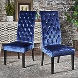 Leona Tall Back Tufted New Velvet Dining Chair (Set Of 2) (Navy Blue