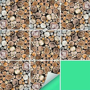 PrintYourHome Fliesenaufkleber Für Küche Und Bad | Fliesenfolie Für 20x20cm  Fliesen | Dekor Holz Stapel Natur