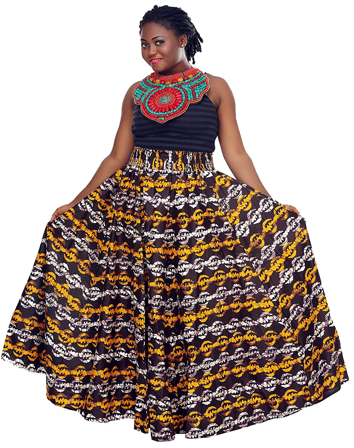African Planet Women's Trees Cotton Wax Skirt Burundi Inspired Elastic Waist Maxi 2D-FI31-168