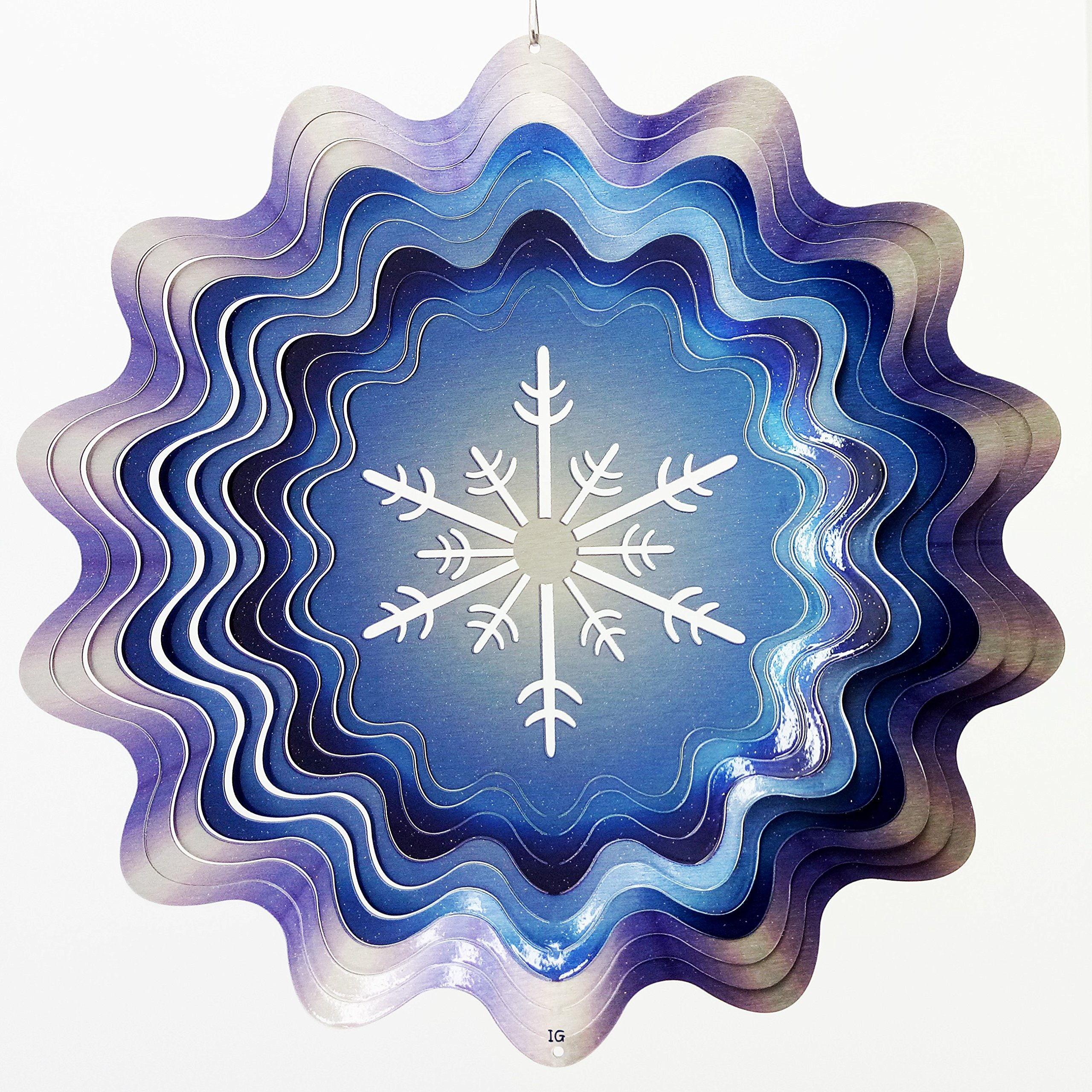 Snowflake in Winter Blue Garden Wind Spinner, Metal Yard Art and Outdoor Décor, 12 Inch