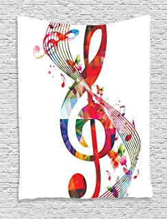 Music Decor Tapestry By Ambesonne Artwork With Notes Rhythm Song Ornamental Vibrant Colors Fantasy