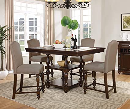 Best Master Furniture D1881 5 Piece Mc Gregor Counter Walnut Dining Room Set