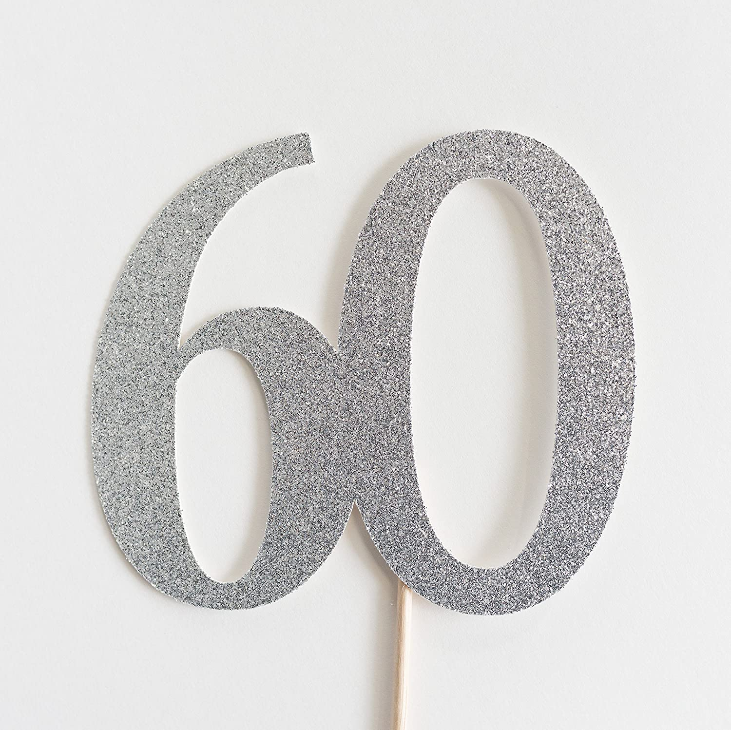 Silver Glitter 60 Cake Topper, 60th Anniversary, Sixtieth Birthday, Sixty